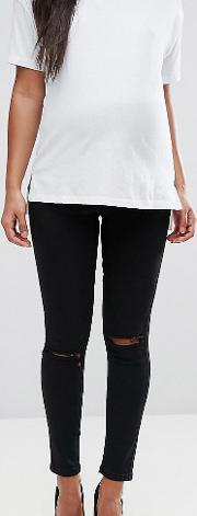 Maternity Ridley High Waisted Skinny Jeans Clean With Ripped Knees Over The Bump Waistband