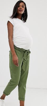 Maternity Washed Soft Twill Tie Waist Casual Trouser With Under The Bump Waistband