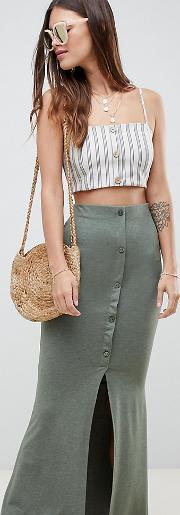 maxi skirt with button front and split detail in khaki marl