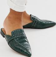 Maximum Studded Leather Pointed Mule Croc