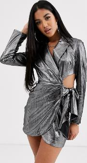 Metallic Jersey Draped Cut Out Side Blazer