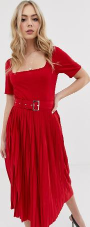 Midi Dress With Pleated Skirt And Belt