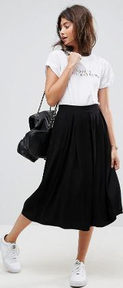 Midi Skirt With Box Pleats
