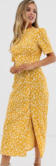 Midi Tea Dress With Buttons
