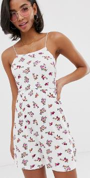 Mini Floral Print Rib Sundress