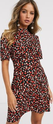 Mini Tea Dress With Buttons Floral Print