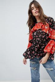 Mix & Match Floral Print Tiered Ruffle Long Sleeve Blouse