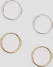 design mixed plated sterling silver pack of 2 hoop earrings
