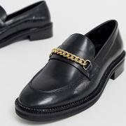 Mixture Leather Chain Loafers