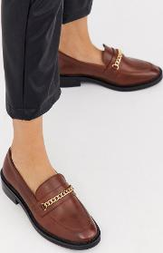 Mixture Leather Chain Loafers Cognac