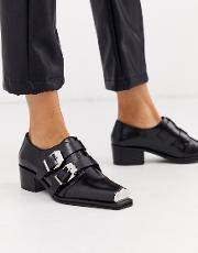 Morning Leather Monk Flat Shoes