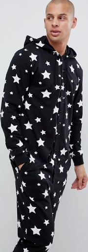 Mr & Mrs Hooded Onesie With Star Print