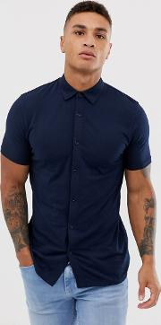 Muscle Fit Button Through Jersey Polo