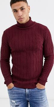 Muscle Fit Cable Roll Neck Jumper
