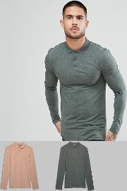 Muscle Fit Jersey Long Sleeve Polo 2 Pack Pack Saving