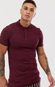 Muscle Fit Longline Polo Burgundy