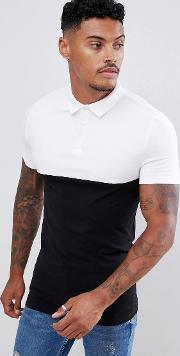 Muscle Fit Polo Shirt With Contrast Yoke