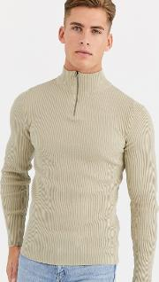 Muscle Fit Ribbed Half Zip Jumper