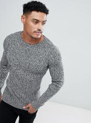Muscle Fit Ribbed Jumper