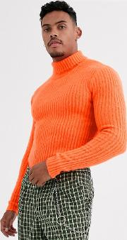 Muscle Fit Roll Neck Fluffy Jumper