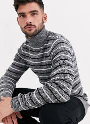 Muscle Fit Roll Neck Jumper With Stripe