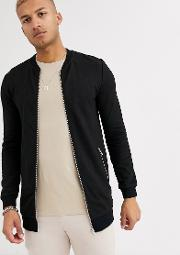 Muscle Longline Jersey Bomber Jacket With Silver Zip Pockets