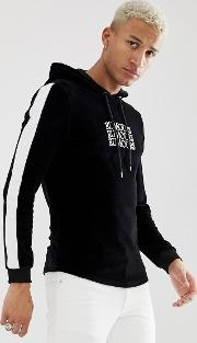 Muscle Velour Hoodie With Text Slogan Print And Side Stripes