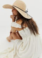 Natural Straw Floppy Hat With Plait Braid And Size Adjuster