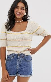 Natural Yarn Stripe Knit Tee With Puff Sleeve