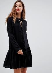 Neck Tie Mini Smock Dress With Long Sleeves And Button Front