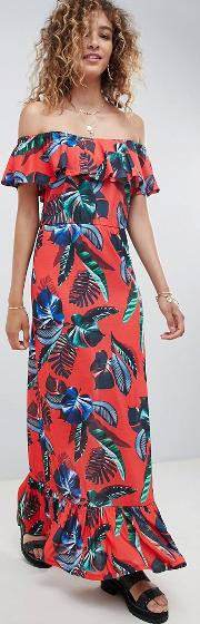 Off Shoulder Maxi Sundress With Tiered Skirt