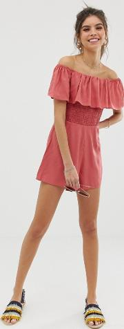 Off Shoulder Ruffle Playsuit With Shirring