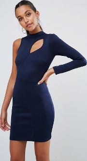 One Shoulder Long Sleeve Cut Out Front Mini Dress