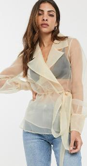 Organza Wrap Top With Collar Detail
