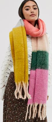 Oversized Fluffy Block Stripe Woven Scarf