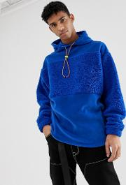 Oversized Hoodie With Borg And Fleece Colour Block Neon Trims