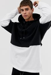 Oversized Hoodie With Double Layer Sleeve And Hem