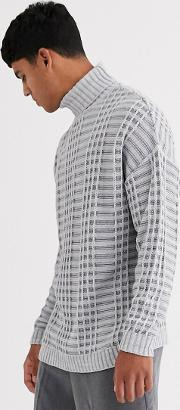 Oversized Jumper With Grid Texture