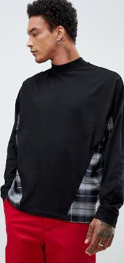 oversized long sleeve t shirt with woven check panels and turtle neck