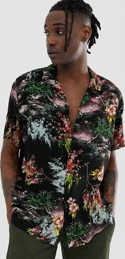 Oversized Painted Style Floral Shirt
