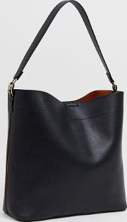 Oversized Structured Shopper Bag With Contrast Detail
