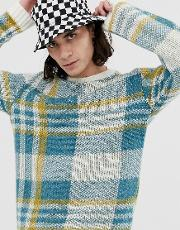 Oversized Textured Check Jumper