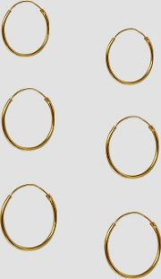 design pack of 3 gold plated sterling silver hoop earrings
