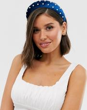 Padded Headband With Pearl Embellishment