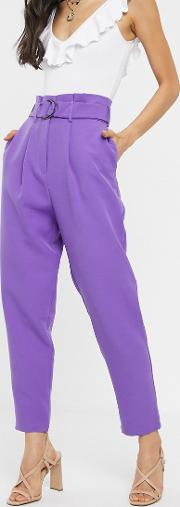 Paperbag Trousers With D Ring Lilac