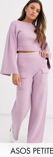Petite Co Ord Ribbed Knit Trouser With Pockets