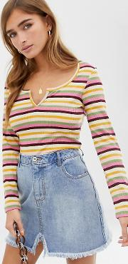 Petite Crop Top With Notch Front