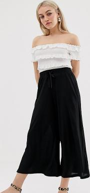 Petite Cropped Drawstring Trousers