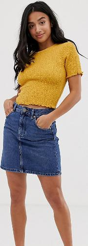 Petite Denim Original High Waisted Skirt Midwash