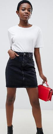 Petite Denim Original High Waisted Skirt Washed